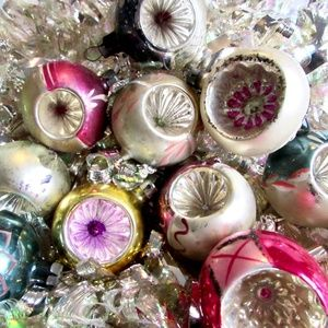 Vintage Feather Tree Glass Ornament Reflector NICE